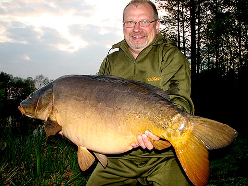 Michael Koester with imitation caught German carp
