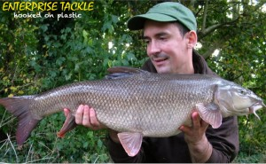 This 12lb 10oz barbel fell to a rig which incorporated a covert hook Aligner, a great addition to many modern day specimen rigs.